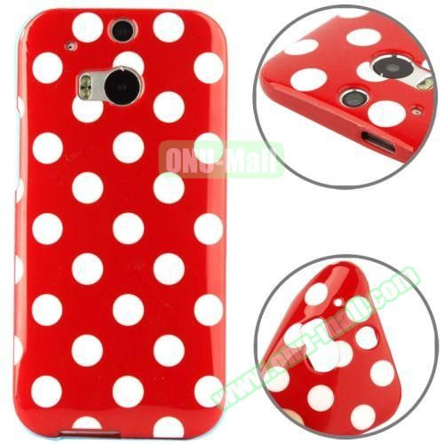 Polka Dot Pattern Smooth Soft TPU Case for HTC One M8 (Red+White)