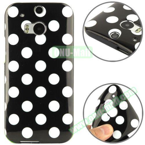 Polka Dot Pattern Smooth Soft TPU Case for HTC One M8 (Black+White)
