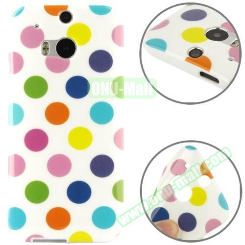 Polka Dot Pattern Smooth Soft TPU Case for HTC One M8 (White)