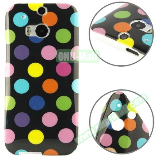 Polka Dot Pattern Smooth Soft TPU Case for HTC One M8 (Black)
