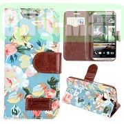 Flowers Pattern Design Wallet Leather Case for HTC One M8One 2 with Card Slot (Blue)