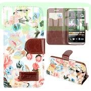 Flowers Pattern Design Wallet Leather Case for HTC One M8One 2 with Card Slot (White)