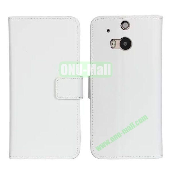 Hot Sale Genuine Leather Case for HTC One M8  One 2 (White)