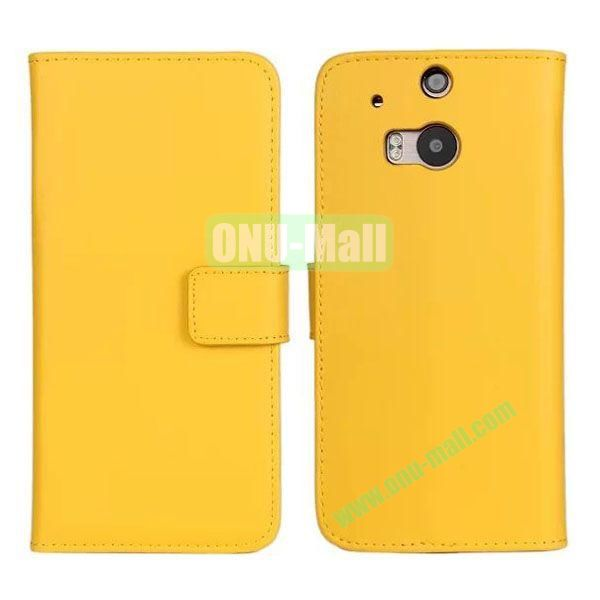 Hot Sale Genuine Leather Case for HTC One M8  One 2 (Yellow)