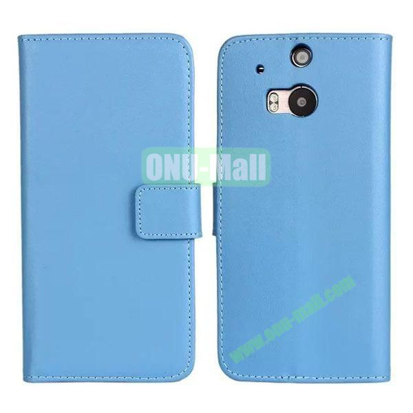 Hot Sale Genuine Leather Case for HTC One M8  One 2 (Blue)