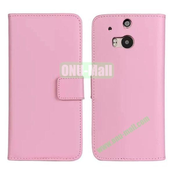 Hot Sale Genuine Leather Case for HTC One M8  One 2 (Pink)