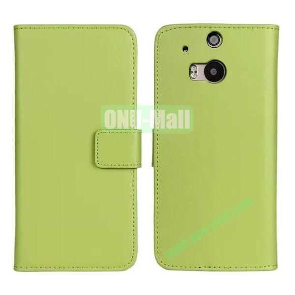Hot Sale Genuine Leather Case for HTC One M8  One 2 (Green)
