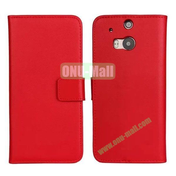 Hot Sale Genuine Leather Case for HTC One M8  One 2 (Red)