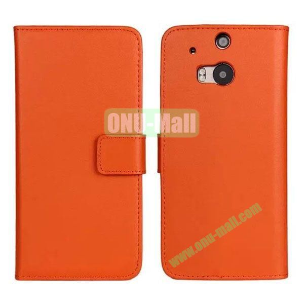 Hot Sale Genuine Leather Case for HTC One M8  One 2 (Orange)
