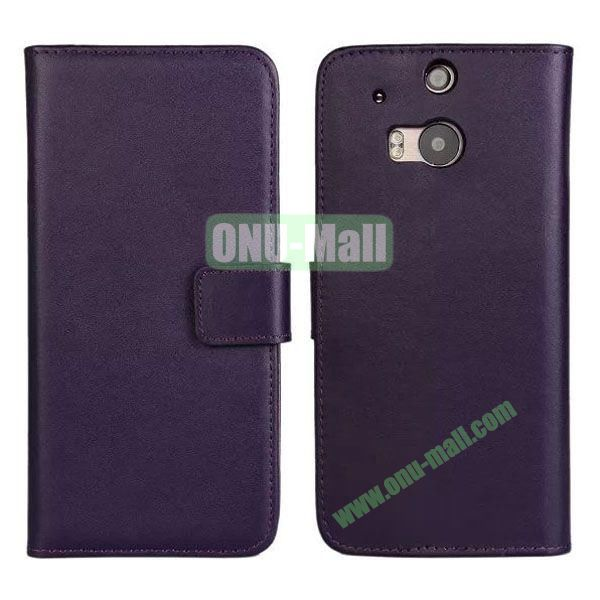 Hot Sale Genuine Leather Case for HTC One M8  One 2 (Purple)