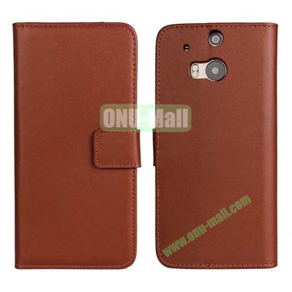 Hot Sale Genuine Leather Case for HTC One M8  One 2 (Brown)