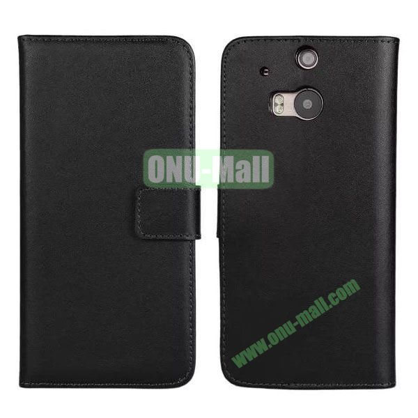 Hot Sale Genuine Leather Case for HTC One M8  One 2 (Black)