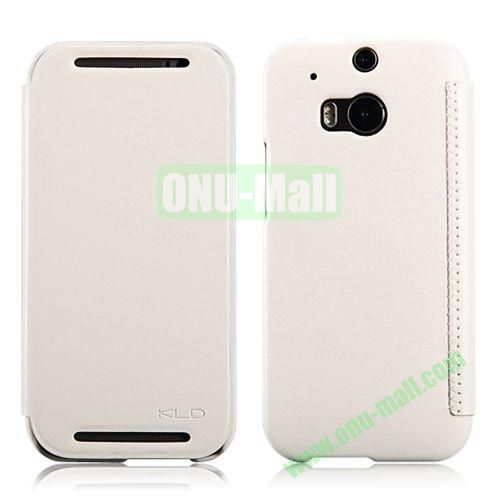 KLD Enland Series Flip Crazy Horse Texture Leather Case for HTC One M8  One 2 (White)