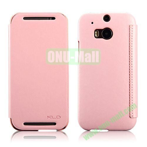 KLD Enland Series Flip Crazy Horse Texture Leather Case for HTC One M8  One 2 (Pink)
