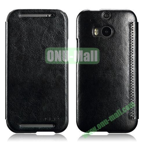 KLD Enland Series Flip Crazy Horse Texture Leather Case for HTC One M8  One 2 (Black)