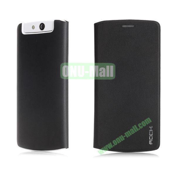 ROCK Smart Sleep and Wake Flip TPU + PU Leather Case for OPPO N1 mini N5111 (Black)