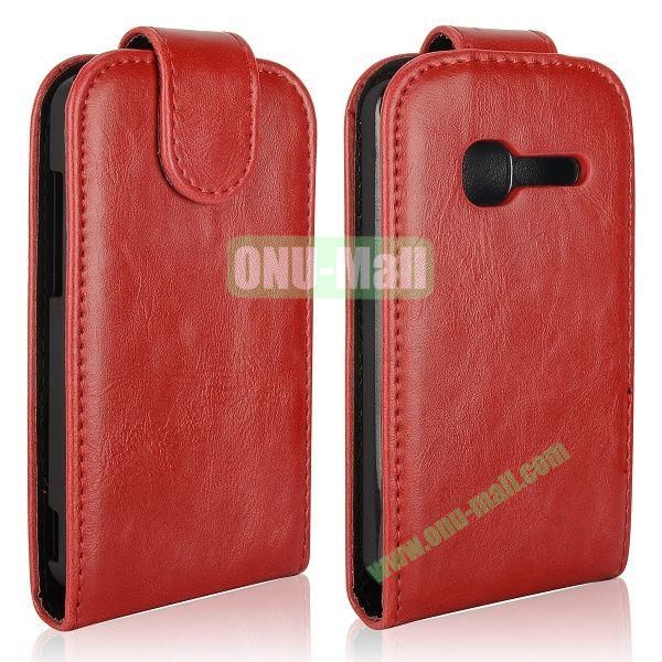 Vertical Flip Magnetic Leather Case for Alcatel One Touch TPOP OT4010 (Red)