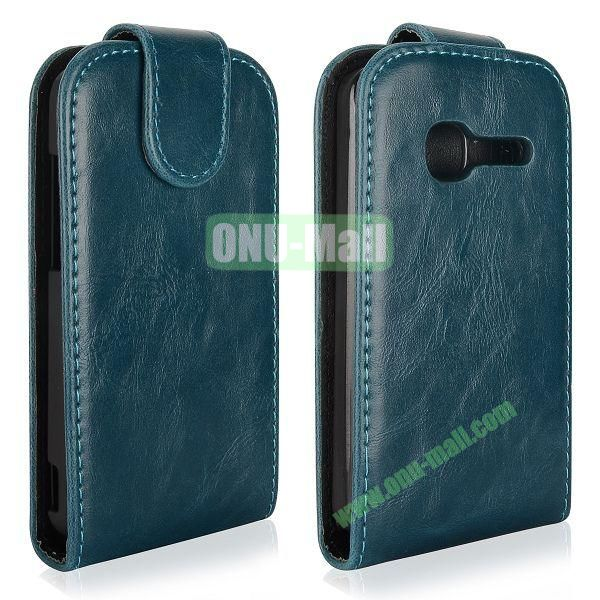 Vertical Flip Magnetic Leather Case for Alcatel One Touch TPOP OT4010 (Cyan)