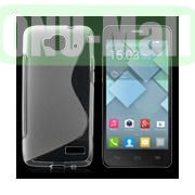 S Shape TPU Case for Alcatel One Touch Idol Mini  OT-6012X  OT-6012W (Transparent)