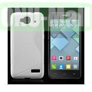 S Shape TPU Case for Alcatel One Touch Idol Mini  OT-6012X  OT-6012W (White)