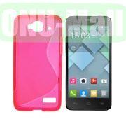 S Shape TPU Case for Alcatel One Touch Idol Mini  OT-6012X  OT-6012W (Pink)