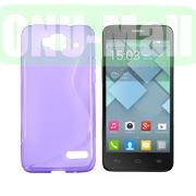 S Shape TPU Case for Alcatel One Touch Idol Mini  OT-6012X  OT-6012W (Purple)