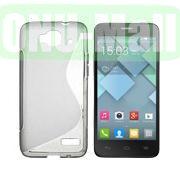 S Shape TPU Case for Alcatel One Touch Idol Mini  OT-6012X  OT-6012W (Grey)