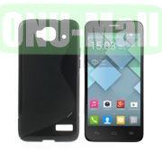 S Shape TPU Case for Alcatel One Touch Idol Mini  OT-6012X  OT-6012W (Black)