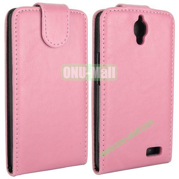 Vertical Flip Magnetic Leather Case for Alcatel One Touch Idol  OT-6030D (Pink)