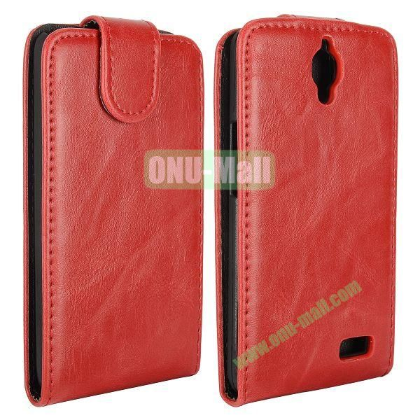 Vertical Flip Magnetic Leather Case for Alcatel One Touch Idol  OT-6030D (Red)