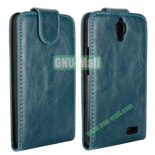 Vertical Flip Magnetic Leather Case for Alcatel One Touch Idol  OT-6030D (Cyan)