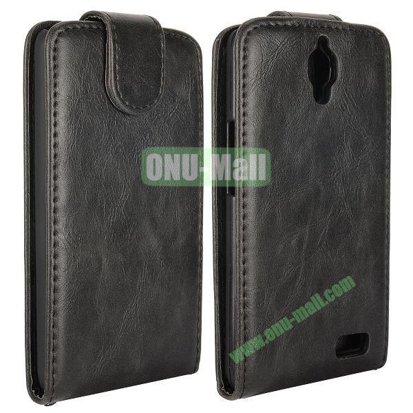 Vertical Flip Magnetic Leather Case for Alcatel One Touch Idol  OT-6030D (Black)