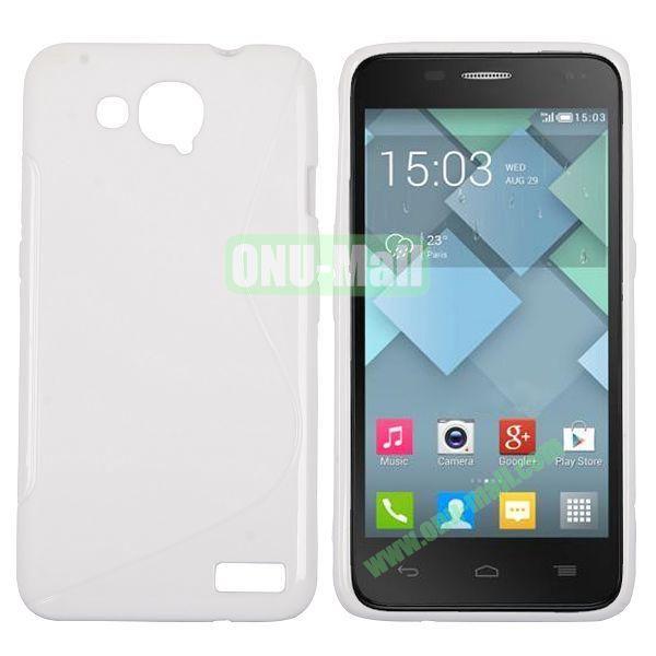 S-Shape Design TPU Case for Alcatel One Touch Idol S  OT6034 (White)