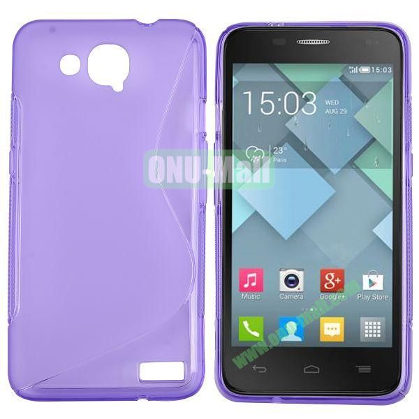 S-Shape Design TPU Case for Alcatel One Touch Idol S  OT6034 (Purple)