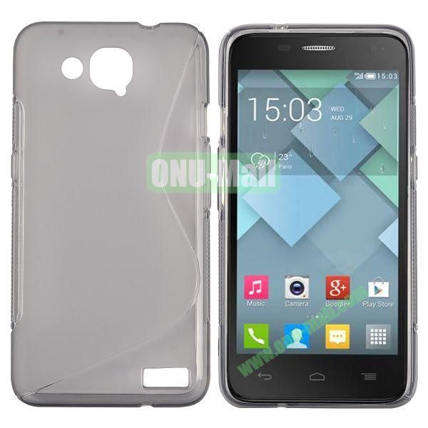 S-Shape Design TPU Case for Alcatel One Touch Idol S  OT6034 (Grey)
