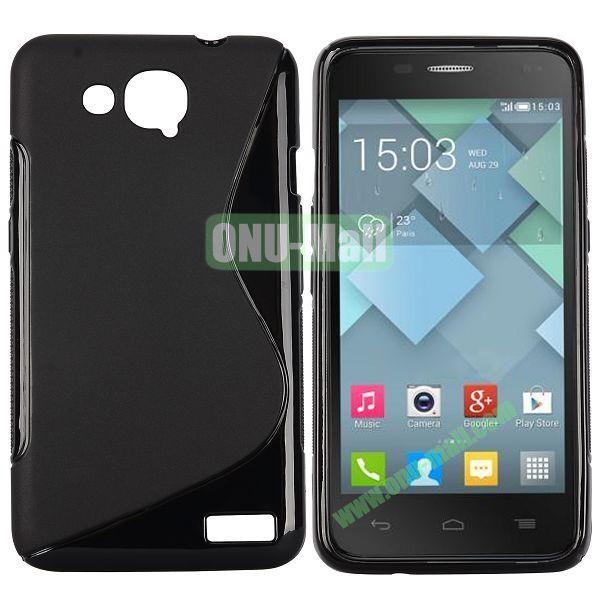 S-Shape Design TPU Case for Alcatel One Touch Idol S  OT6034 (Black)
