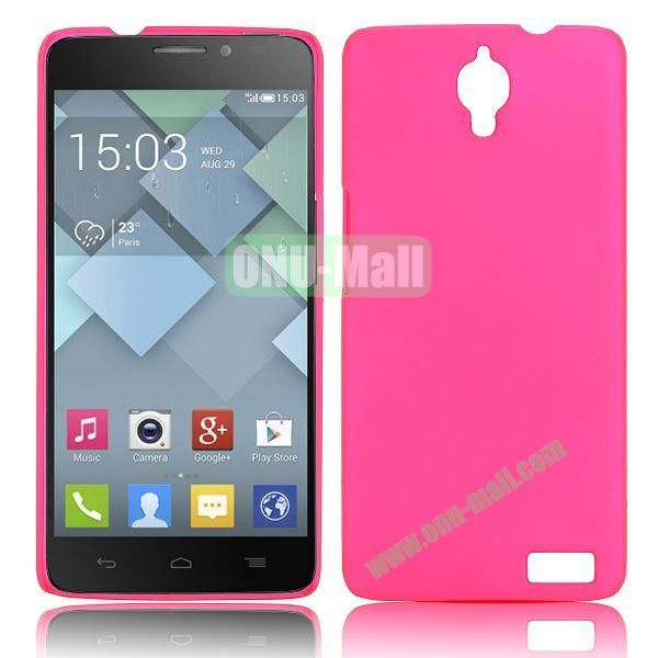 Solid Color Smooth Oil Hard Case for Alcatel One Touch Idol X  6040  6040A  6040D  6040E (Rose)