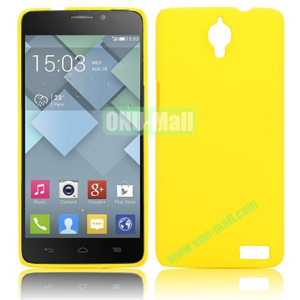 Solid Color Smooth Oil Hard Case for Alcatel One Touch Idol X  6040  6040A  6040D  6040E (Yellow)