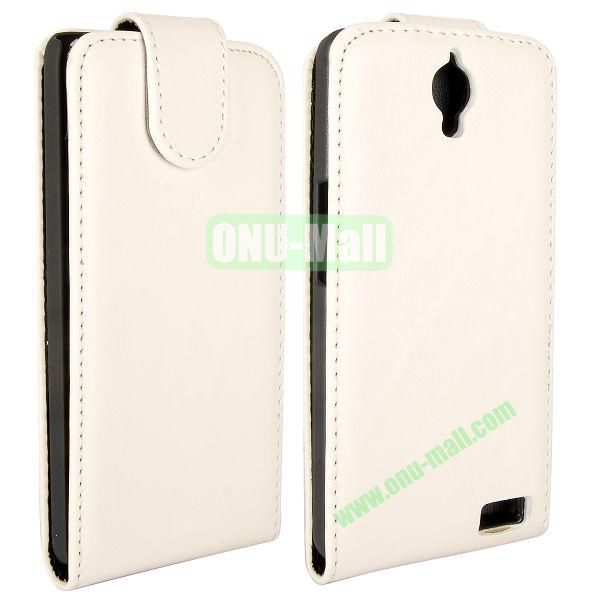 Crazy Horse Texture Vertical Flip Magnetic Leather Case for Alcatel One Touch Idol X  6040  6040A  6040D  6040E (White)