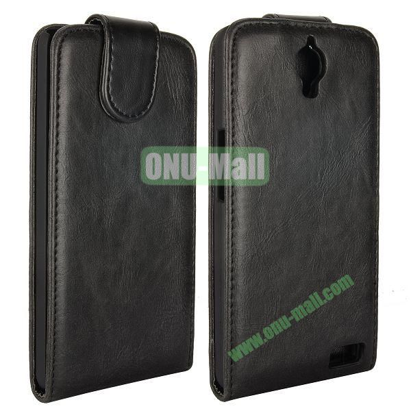 Crazy Horse Texture Vertical Flip Magnetic Leather Case for Alcatel One Touch Idol X  6040  6040A  6040D  6040E (Black)