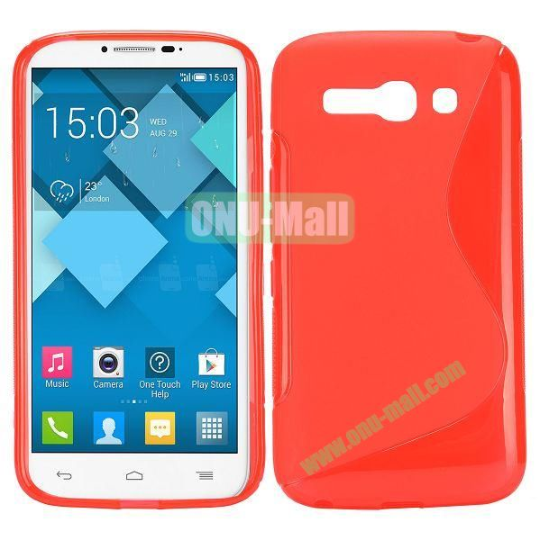 S-Shape Design TPU Case for Alcatel One Touch POP C9 Dual  7047D (Red)