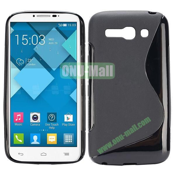 S-Shape Design TPU Case for Alcatel One Touch POP C9 Dual  7047D (Black)