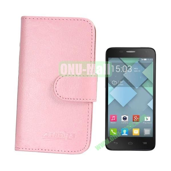Crazy Horse Texture Leather Case for Alcatel One Touch Idol Mini  6012X  6012A  6012D  6012E  6012W with Card Slots (Pink)