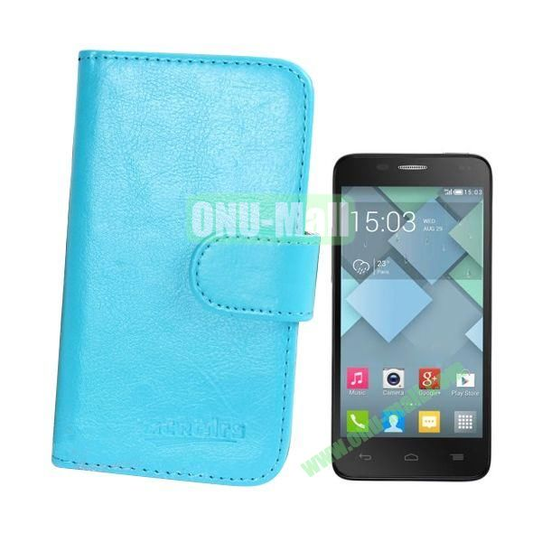Crazy Horse Texture Leather Case for Alcatel One Touch Idol Mini  6012X  6012A  6012D  6012E  6012W with Card Slots (Blue)