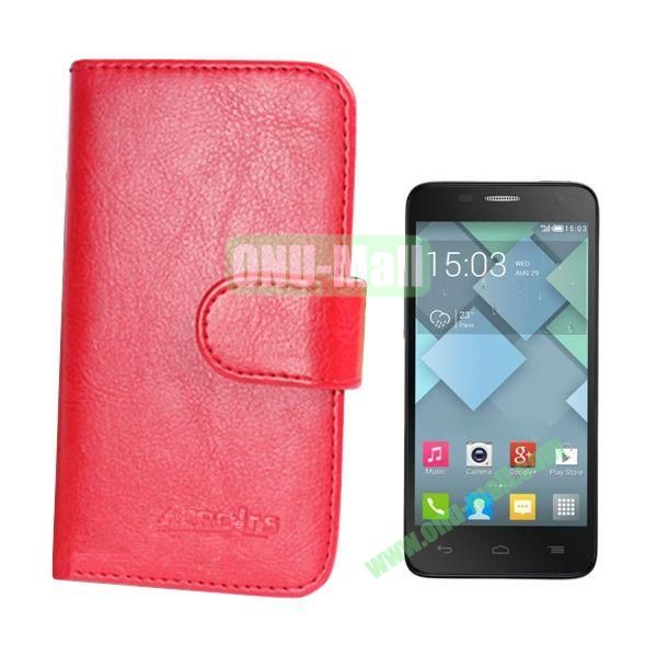 Crazy Horse Texture Leather Case for Alcatel One Touch Idol Mini  6012X  6012A  6012D  6012E  6012W with Card Slots (Red)
