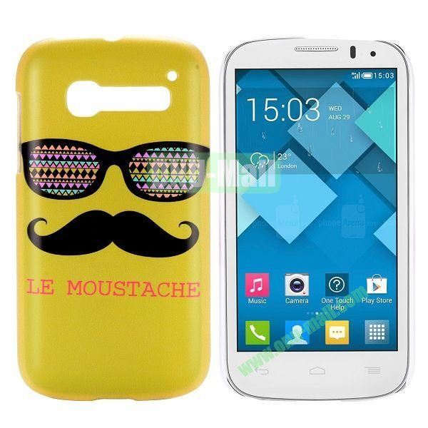 Yellow Mustache & Glasses Design Pattern Hard Case for Alcatel One Touch Pop C5