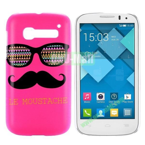 Rose Mustache & Glasses Design Pattern Hard Case for Alcatel One Touch Pop C5