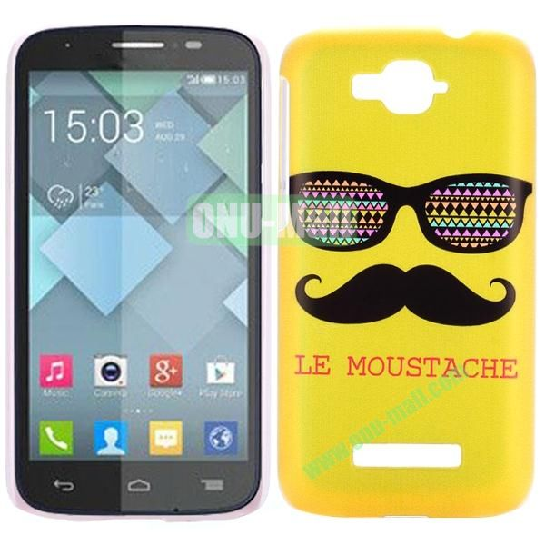 Personality Hard Plastic Back Case Cover for Alcatel One Touch Pop C7 (Yellow Moustache and Sunglass)