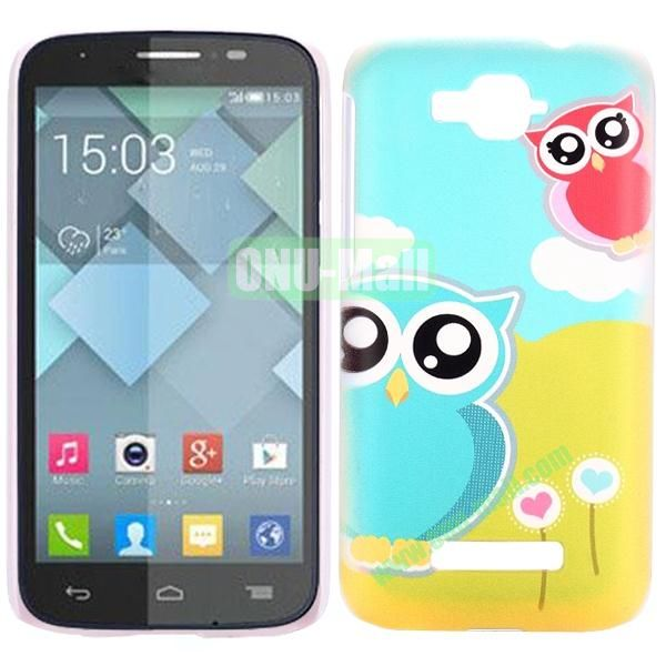 Personality Hard Plastic Back Case Cover for Alcatel One Touch Pop C7 (Cute Two Owls)