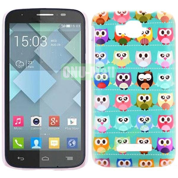 Personality Hard Plastic Back Case Cover for Alcatel One Touch Pop C7 (Colorized Owls)